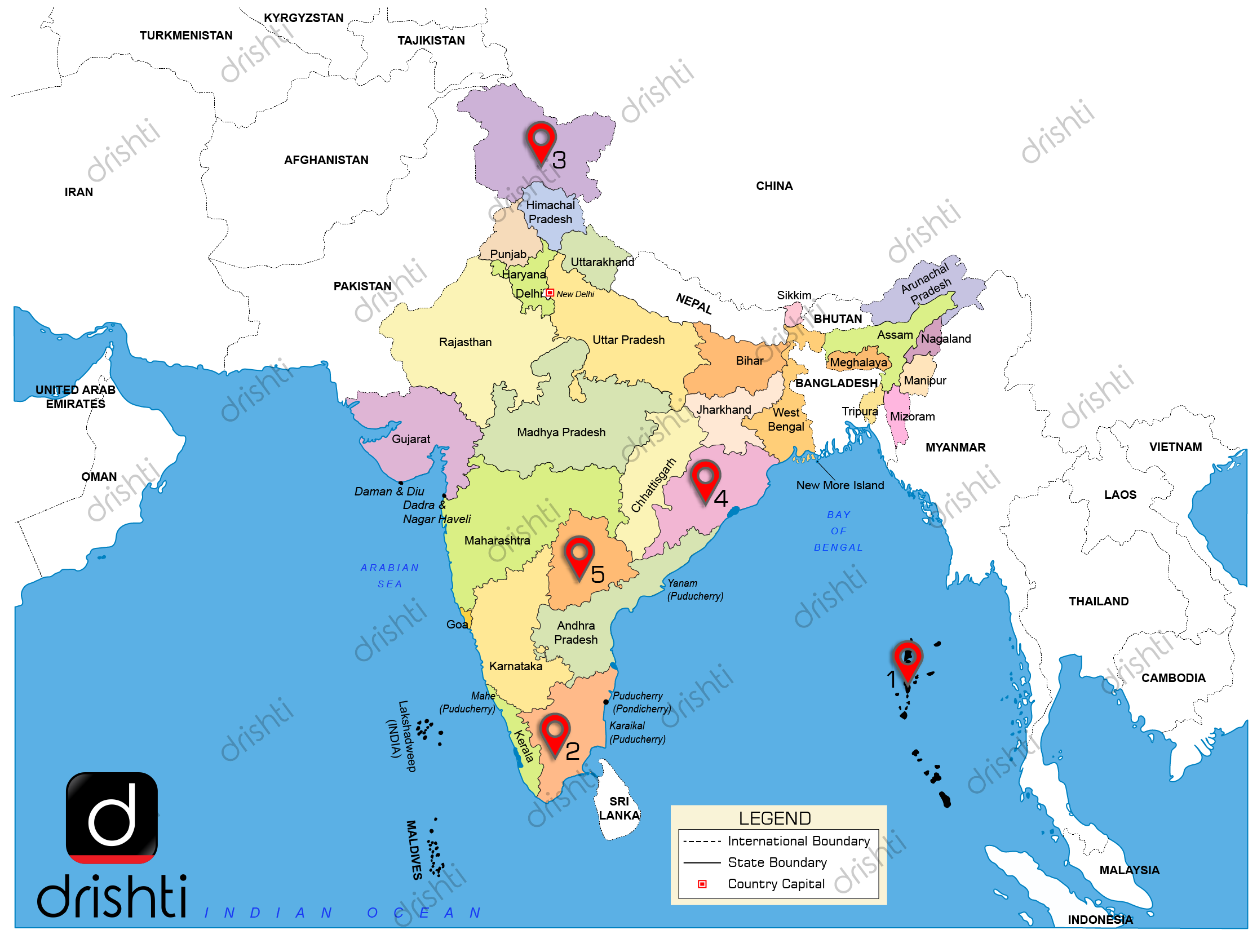 india map with lakes India Map September I 2019 Learning Through Maps india map with lakes