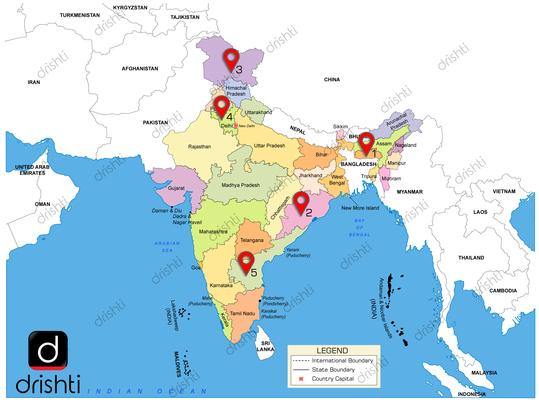 India Map : January (I) 2019 : Learning Through Maps